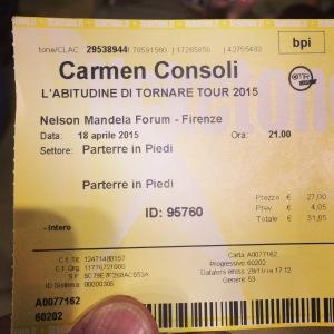 Biglietto concerto di Carmen Consoli a Firenze